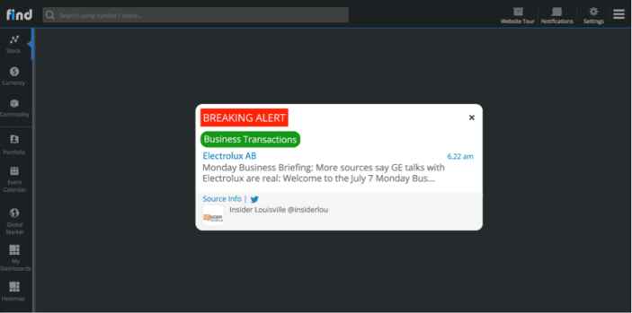 "Tweet on Electrolux AB captured as ""Breaking Alert"" on Heckyl FIND"
