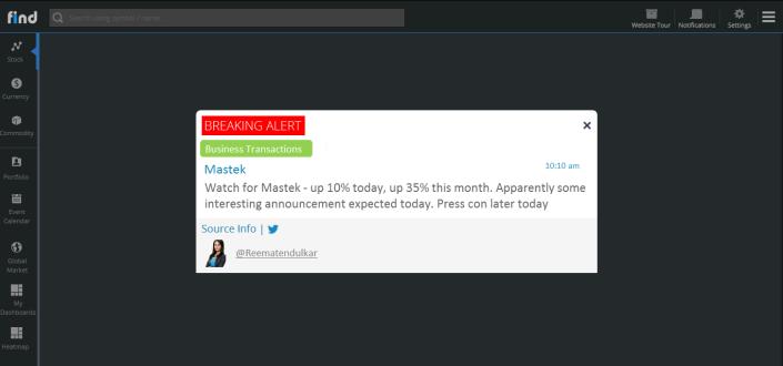 Twitter alert on Mastek