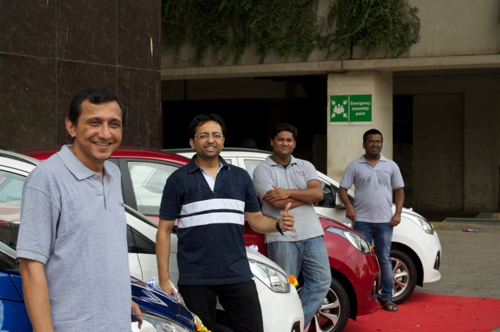 Fantastic Four : Ashish Mandavkar, Ashish Saharia, Yogesh Bagle and Madhusudhan Muthoji with their reward.